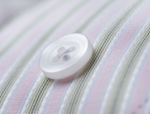 button on pinstripe shirt macro